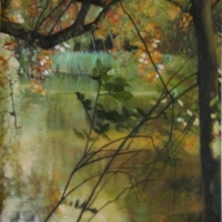Wild Pond at Shipton under Wychwood, Oil Painting by Penelope Fulljames