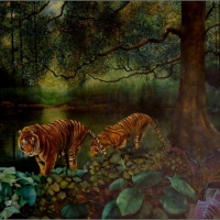 Two Tigers by the River